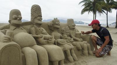 areia, santos, escultura
